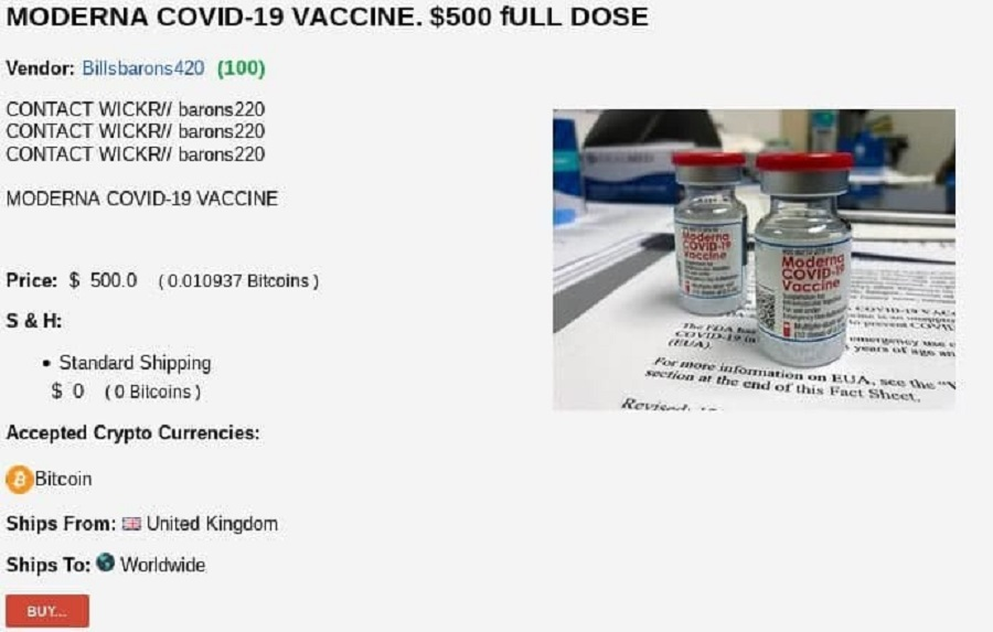Darknet and Covid-19 vaccines
