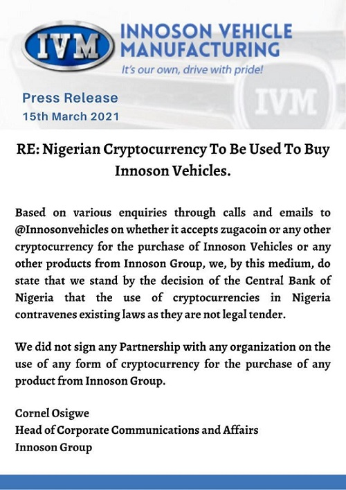Innoson to accept cryptocurrency